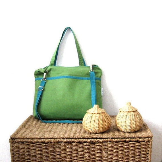 Messenger bag cross body bag tote shoulder bag handbag lime green cotton turquoise blue linen handmade