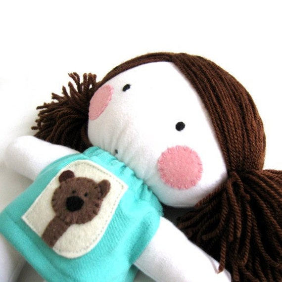 Rag doll toy baby girl cuddly soft plushie child friendly teddy bear white turquoise dress clothes 11 inch