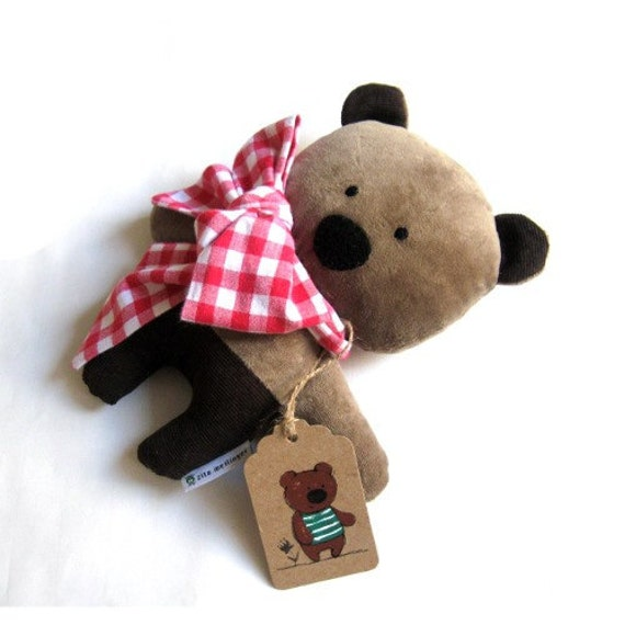 Bear teddy softie plushie toy toddlers children chocolate brown plush corduroy white red checked shawl bow