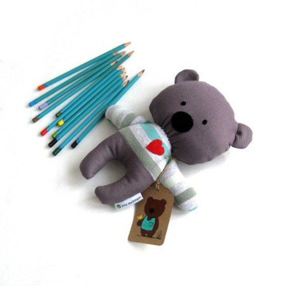 Red heart bear teddy rag doll toy softie plushie baby toddler child safe friendly striped gray grey red heart handmade 25 cm 9,8 inch