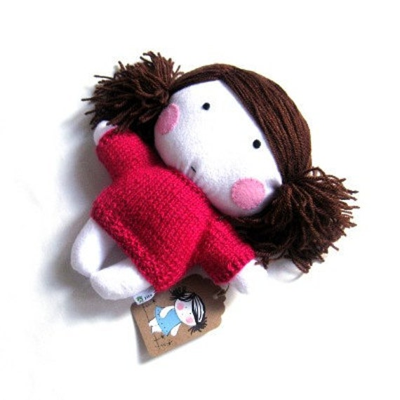 """Handmade rag doll toy stuffed puppet baby girl girlie plushie softie white pink hand knitted dress sweater cuddly child friendly 10"""" 25 cm"""