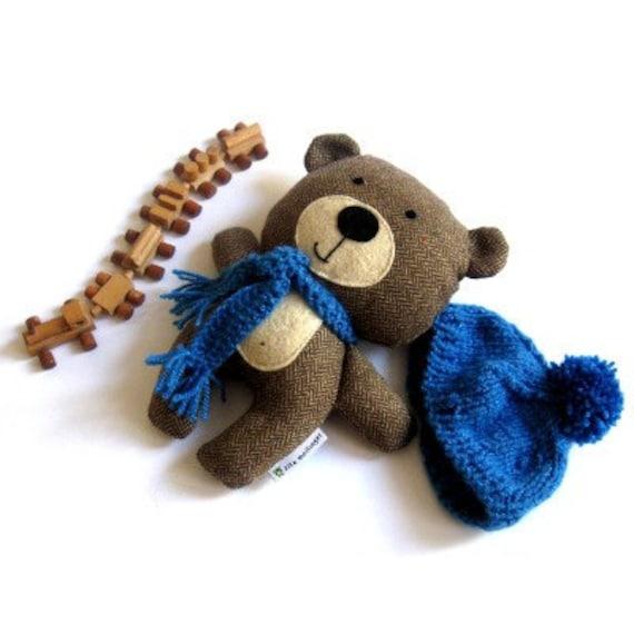 """Teddy bear plushie handmade rag doll toy stuffed animal brown blue 25 cm 9.8"""""""