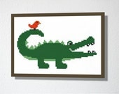 Counted Cross stitch Pattern PDF. Instant download. Cute Crocodile. Includes beginner instructions.
