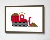 Counted Cross stitch Pattern PDF. Instant download. Bulldozer. Includes easy beginner instructions.