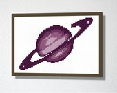 Counted Cross stitch Pattern PDF. Instant download. Planet. Includes easy beginners instructions.