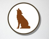 Counted Cross stitch Pattern PDF. Coyote Silhouette. Includes easy beginner instructions.
