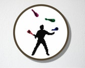 Counted Cross stitch Pattern PDF. Juggler Silhouette. Includes easy beginners instructions.
