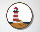 Counted Cross stitch Pattern PDF. Instant download. Lighthouse. Includes easy beginner instructions.