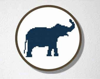 Counted Cross stitch Pattern PDF. Instant download. Elephant Silhouette. Includes easy beginners instructions.