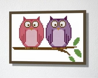 Counted Cross stitch Pattern PDF. Instant download. Cute Owls. Includes beginners instructions.