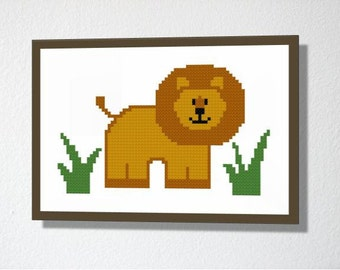 Counted Cross stitch Pattern PDF. Instant download. Cute Lion. Includes beginner instructions.