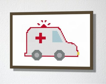 Counted Cross stitch Pattern PDF. Instant download. Ambulance. Includes easy beginners instructions