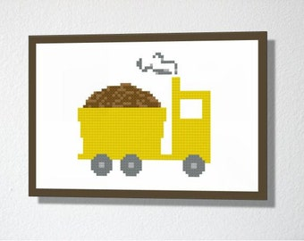Counted Cross stitch Pattern PDF. Instant download. Cute Dump Truck. Includes easy beginners instructions.