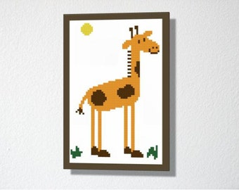 Counted Cross stitch Pattern PDF. Instant download. Cute Giraffe. Includes easy beginner instructions.