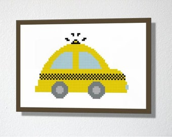 Counted Cross stitch Pattern PDF. Instant download. Taxi. Includes easy beginners instructions.