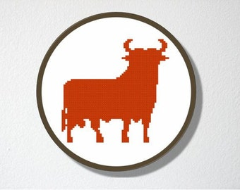 Counted Cross stitch Pattern PDF. Instant download. Ole. Spanish Bull Silhouette. Includes beginners instructions.