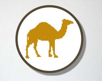 Counted Cross stitch Pattern PDF. Instant download. Camel Silhouette. Includes beginners instructions.