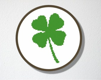 Counted Cross stitch Pattern PDF. Instant download. Four leaf Clover. Includes beginner instructions.