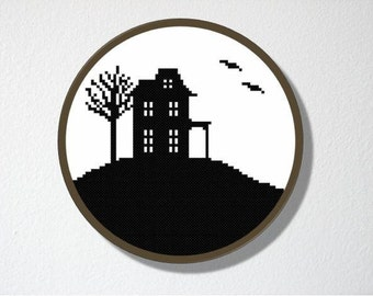 Counted Cross stitch Pattern PDF. Instant download. Haunted House Silhouette. Includes easy beginner instructions.