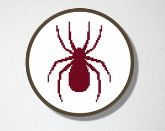 Counted Cross stitch Pattern PDF. Instant download. Spider Silhouette. Includes easy beginners instructions.