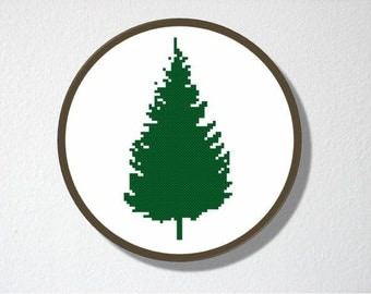 Counted Cross stitch Pattern PDF. Instant download. Pine Tree Silhouette. Includes easy beginner instructions.