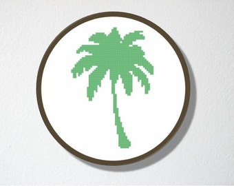 Counted Cross stitch Pattern PDF. Instant download. Palm Tree Silhouette. Includes easy beginner instructions.