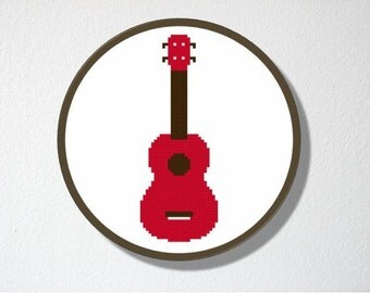 Cross stitch Pattern PDF. Instant download. Ukulele Silhouette. Includes easy beginners instructions.
