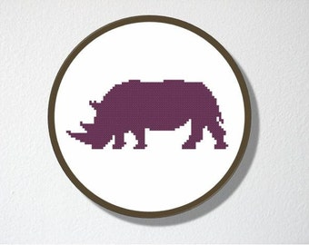 Counted Cross stitch Pattern PDF. Instant download. Rhinoceros Silhouette. Includes easy beginners instructions.
