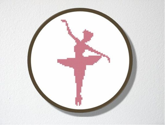 Counted Cross stitch Pattern PDF. Instant download. Ballerina Silhouette. Includes easy beginner instructions.