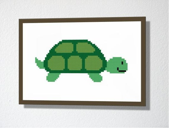 Counted Cross stitch Pattern PDF. Instant download. Cute Turtle. Includes easy beginner instructions.