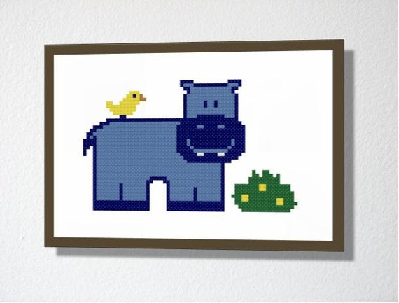 Counted Cross stitch pattern PDF. Instant download. Happy Hippo. Includes easy beginner instructions.