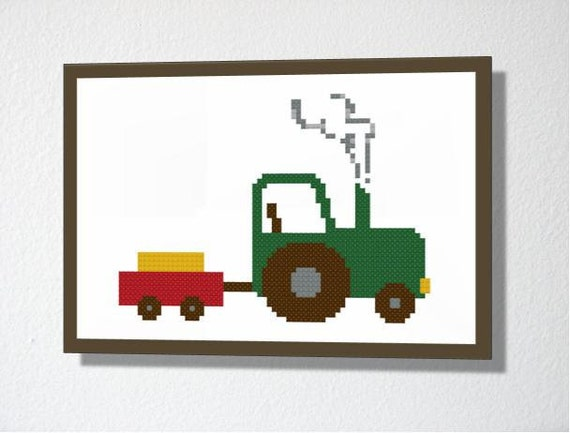Counted Cross stitch Pattern PDF. Instant download. Tractor. Includes easy beginner instructions.