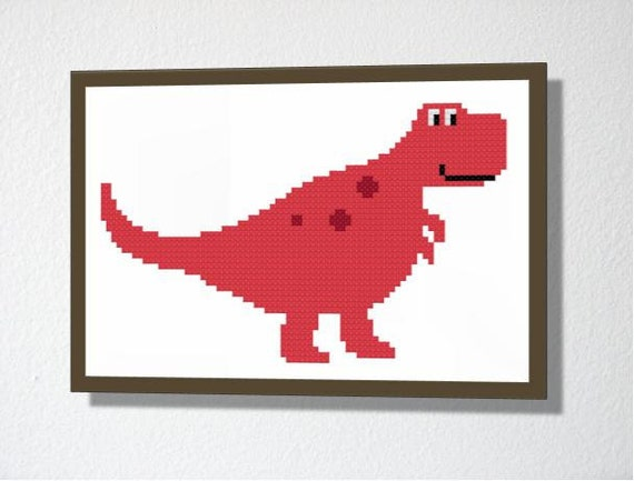 Counted Cross stitch Pattern PDF. Instant download. T-Rex Dinosaur. Includes easy beginners instructions.