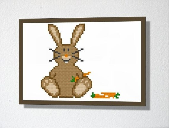 Counted Cross stitch Pattern PDF. Instant download. Cute Rabbit. Includes easy beginners instructions.