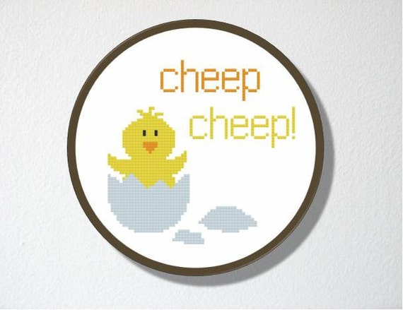 SALE! Counted Cross stitch Pattern PDF. Instant download. Hatching Chick. Includes easy beginners instructions.