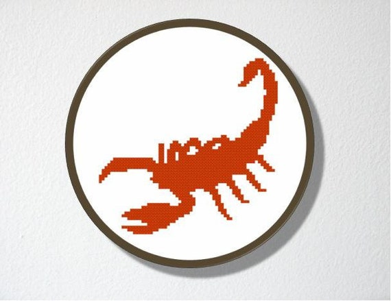 Counted Cross stitch Pattern PDF. Instant download. Scorpion. Includes beginner instructions.