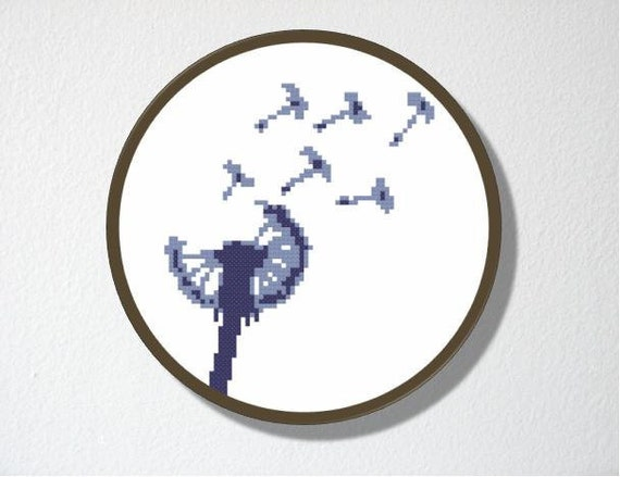Dandelion Counted Cross stitch Pattern PDF. Instant download. Includes beginner instructions.