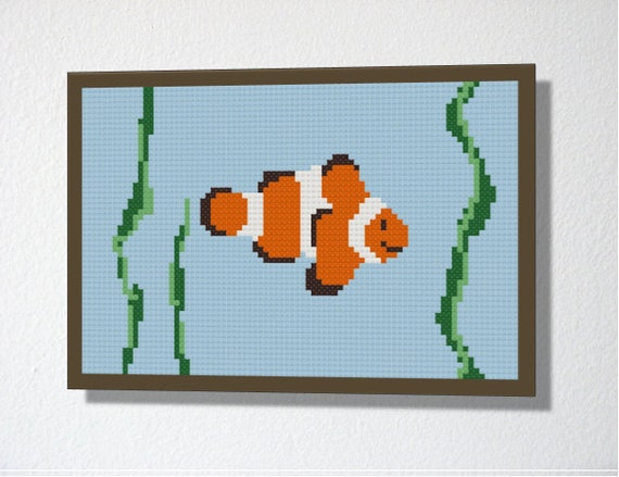 Counted Cross stitch pattern PDF. Instant download. Clownfish. Includes easy beginner instructions.