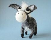 Leonardo the Donkey / MADE TO ORDER / needle felted art toy