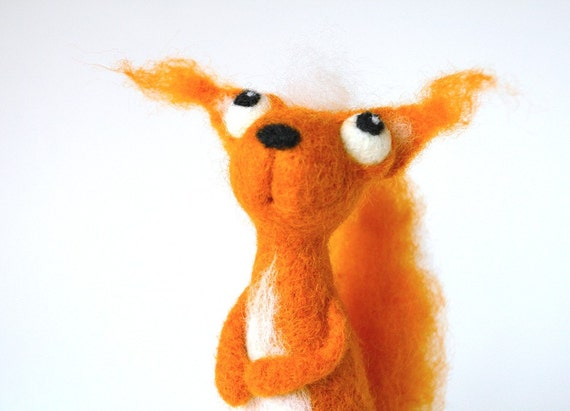 Timothy the Squirrel / needle felted art toy