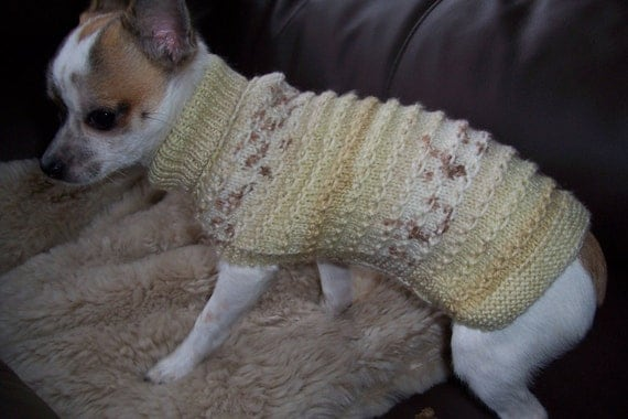 "10"" hand knitted dog coat / sweater chihuahua, puppy"