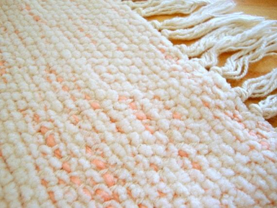 Hand Woven Rug - Soft Peaches & Cream