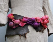 Fabulous Shibori leather/felt belt pink and lilac coral reef one of a kind hand made item