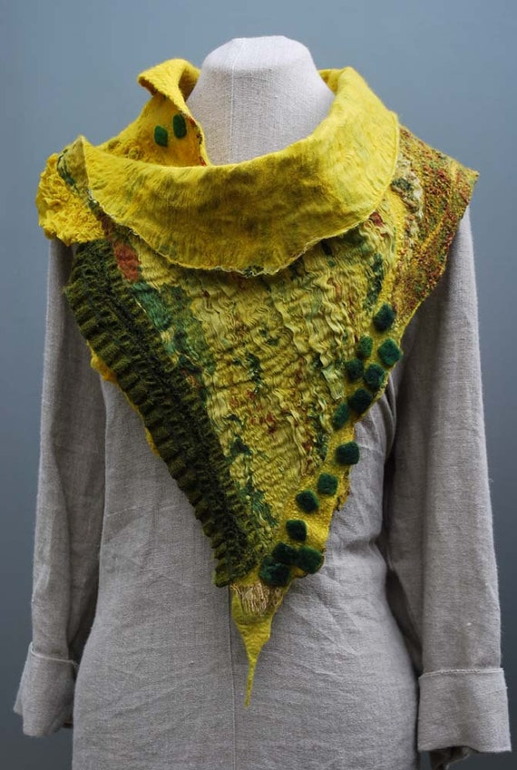 Graceful hand felted art scarf dandelium flower field