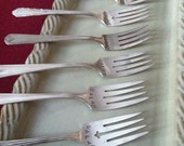 Upcycled Silverplate Salad Forks - Whimsical - Old Vintage Salad Forks hand stamped so you don't have to ask - Free Shipping