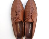 Vintage Brown Leather Woven Toe Loafers--womens size 9.5