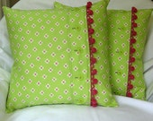 Decorative Pillows Lime Green & Pink  'Cottage Series'