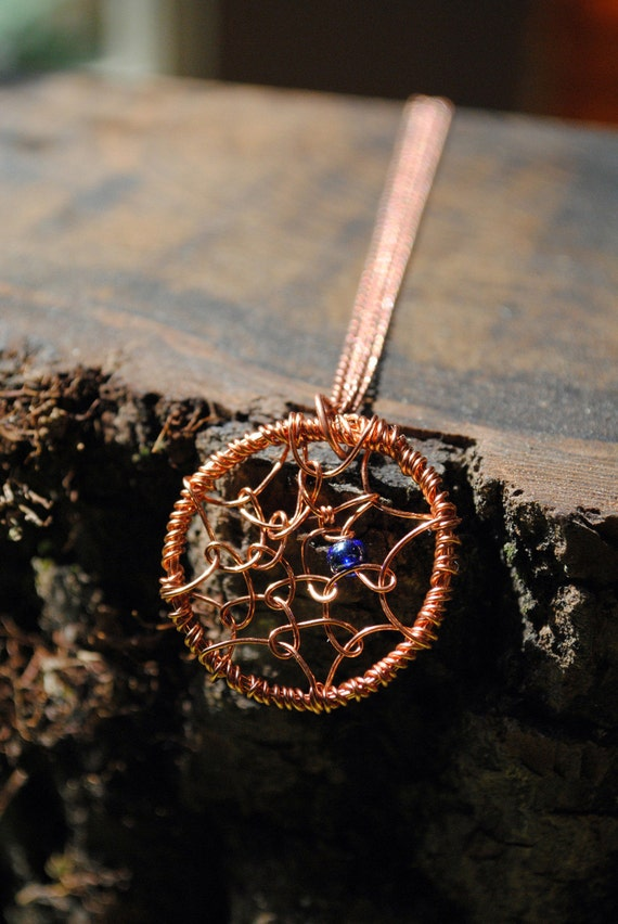 Dreamcatcher Pendant Necklace on Chain Copper Wire with Blue Glass Bead Dream Catcher