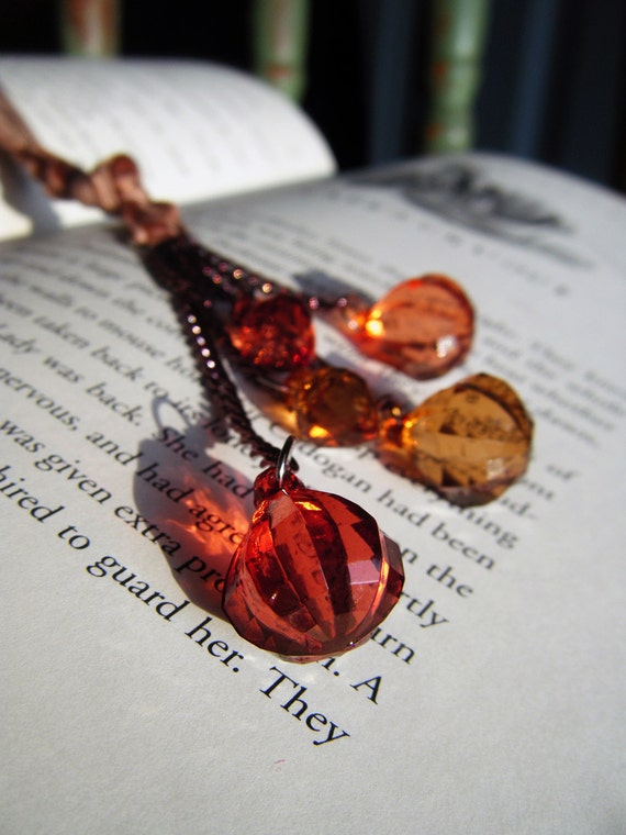 Sparkly Bookmark Beaded Red and Brown Velvet Book Thong
