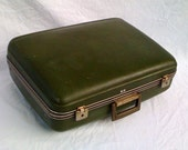 Spring Sale- 50% off- Everything Must Go! Vintage Luggage/Suitcase with Bright Green Lining